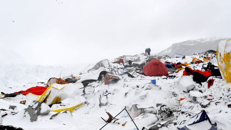 2015: An avalanche triggered by an earthquake caused widespread damage at Everest Base Camp