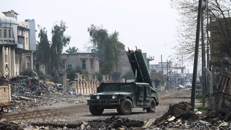 An Iraqi missile truck drives into the Old City in Mosul