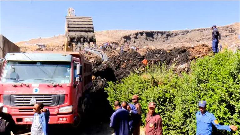 The landfill site is used to dispose of Addis Ababa's rubbish