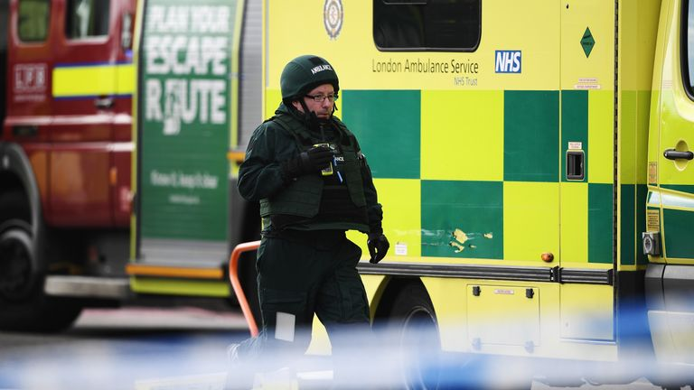 A paramedic in Hazardous Response equipment at the scene of the Westminster attack
