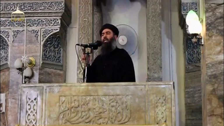 2014: IS leader Abu Bakr al-Baghdadi preaches from the pulpit of Mosul's famous Great Mosque of al-Nuri