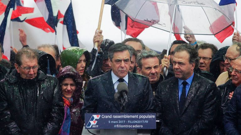 The weather resembled the state of Mr Fillon's campaign