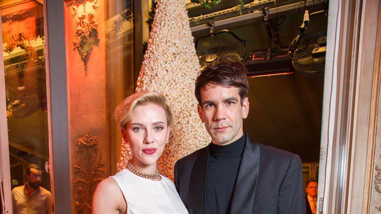 Scarlett Johansson and Romain Dauriac in Paris in December
