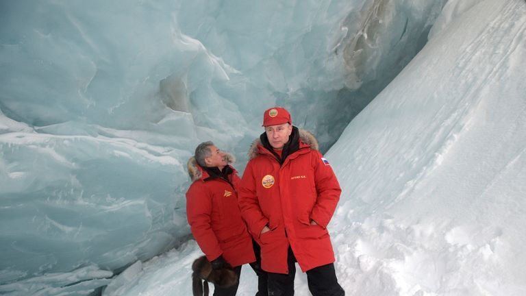Russian President Putin and Defence Minister Shoigu visit cave of Arctic Pilots Glacier
