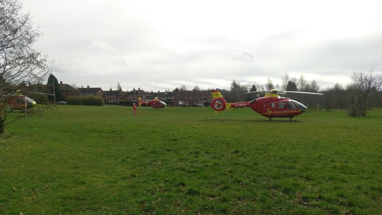 Three air ambulances at the scene of the attack in Merry Hill. Pic: Signal 107