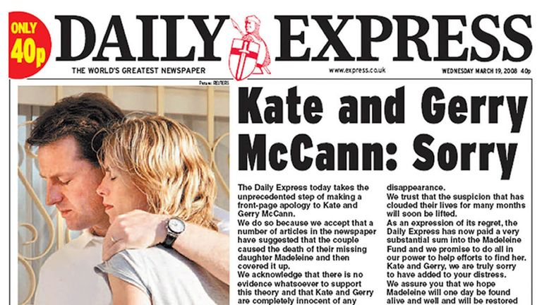 The Daily Express's front-page apology in March 2008