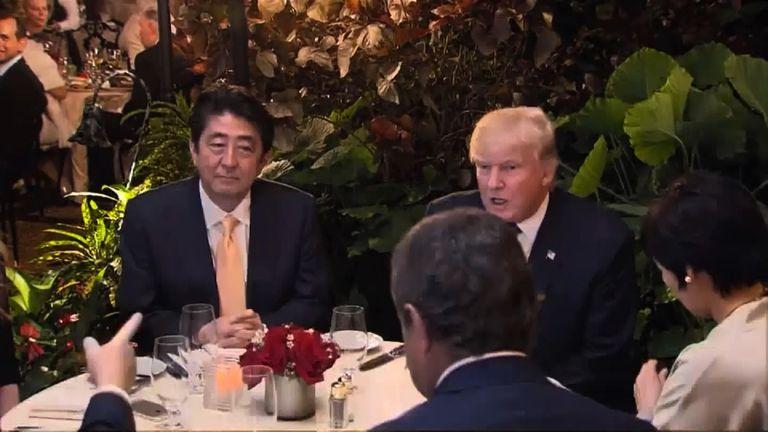 Japan's Shinzo Abe and US president Donald Trump at Mar-a-Lago