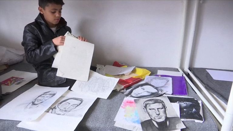 Farhad Nouri is a 10-year-old Afghan refugee who is also a talented artist