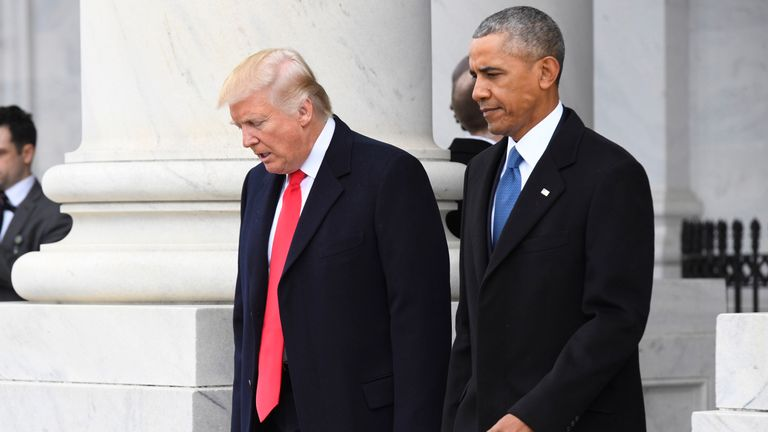 Presidents Trump and Obama together on inauguration day