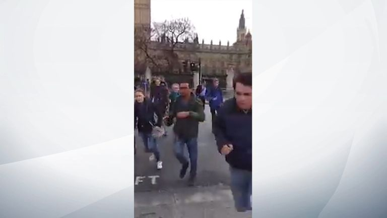 People run away from Houses of Parliament