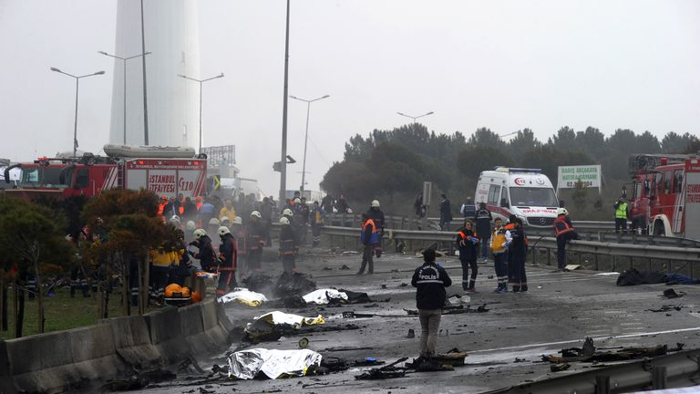 The helicopter hit a former TV tower before it crashed