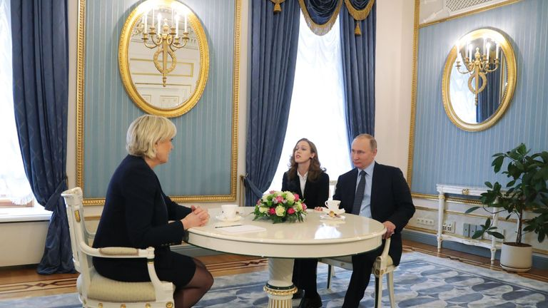 Russian President Vladimir Putin meets with French presidential election candidate for the far-right Front National (FN) party Marine Le Pen at the Kremlin in Moscow on March 24, 2017