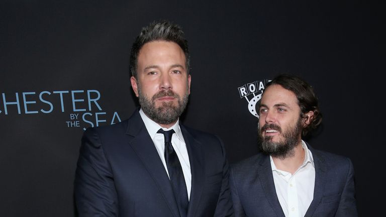 Actors Ben Affleck and Casey Affleck attend the premiere of Amazon Studios' 'Manchester By The Sea'