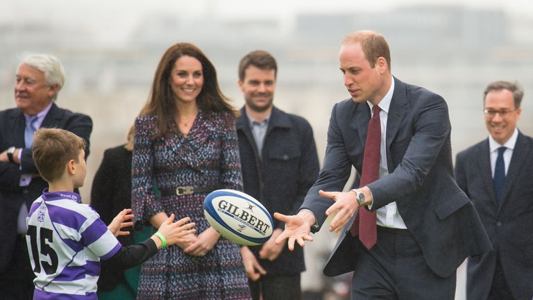 The Duke and Duchess of Cambridge play rugby at the Trocadero