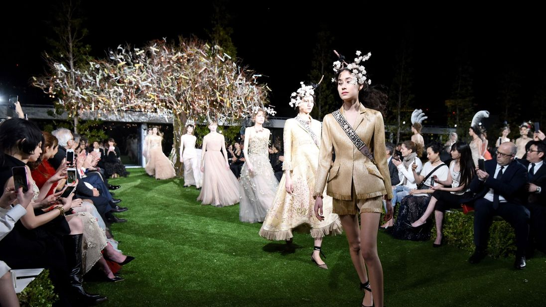 Models display creations of Christian Dior spring/summer 2017 haute couture collection