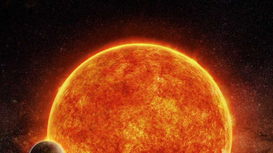 Artist's impression of the newly discovered super-Earth passing in front of its host star