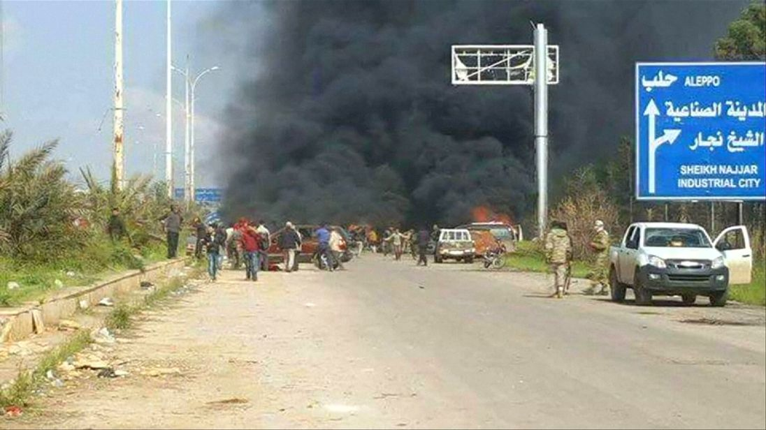 The blast hit buses near Aleppo