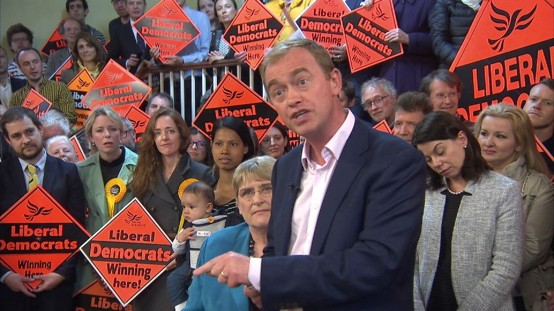 Tim Farron speaks to Sky News at a campaign event in Vauxhall