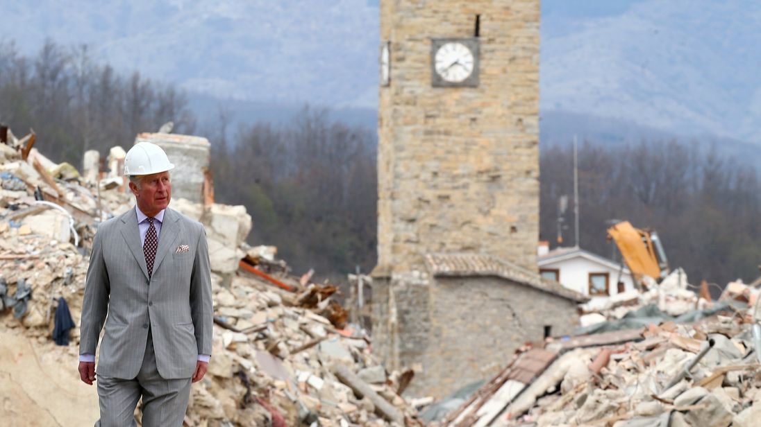 Prince Charles visited quake town of Amatrice