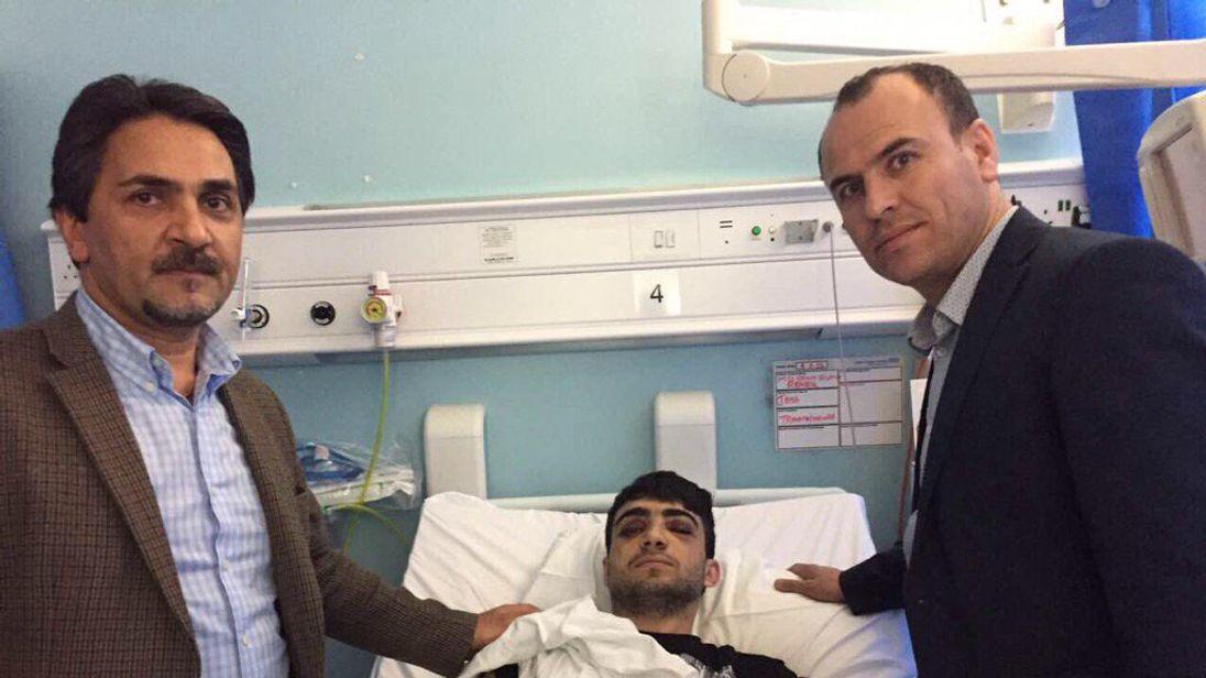 Reker Ahmed in hospital. Pic: Kurdistan Solidarity Campaign