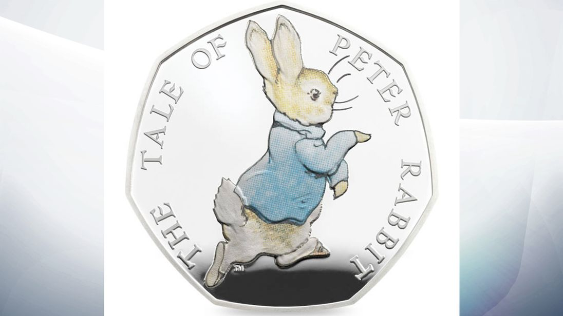 peter rabbit part of beatrix potter coloured 50p coin release by royal mint