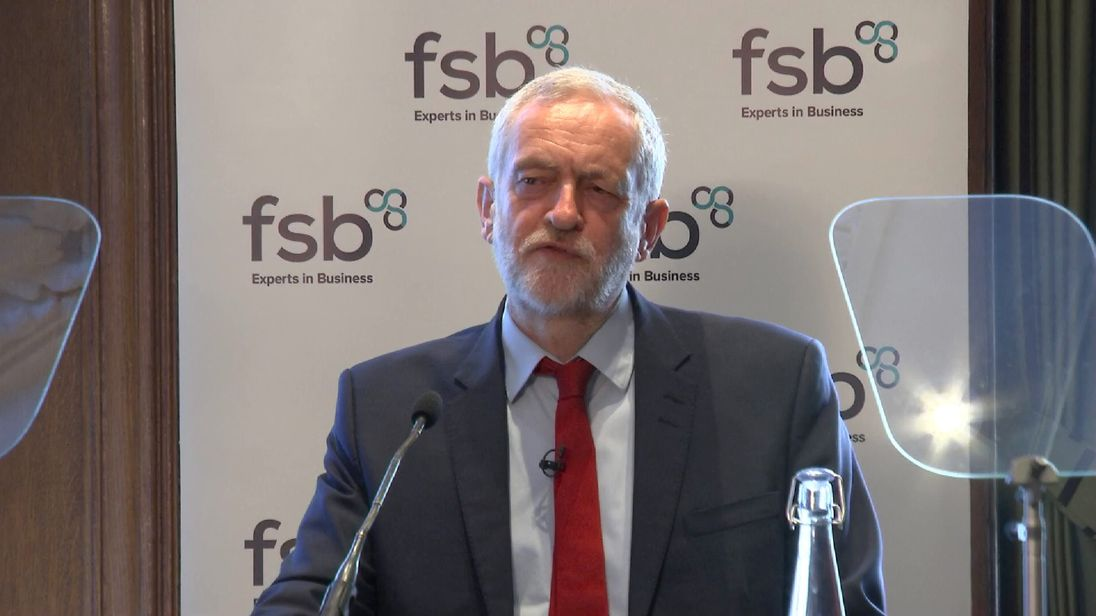 Jeremy Corbyn delivers a speech to the Federation of Small Businesses in London 11/4/2017