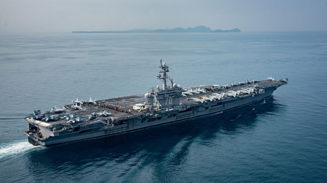 The US aircraft carrier USS Carl Vinson transits the Sunda Strait, Indonesia, on 15 April