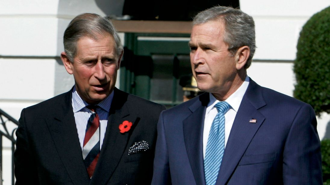 Prince Charles with George W Bush at the White House in 2005