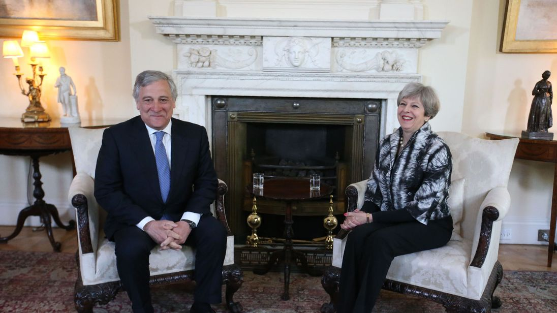 European Parliament President Antonio Tajani meets Theresa May at Downing Street