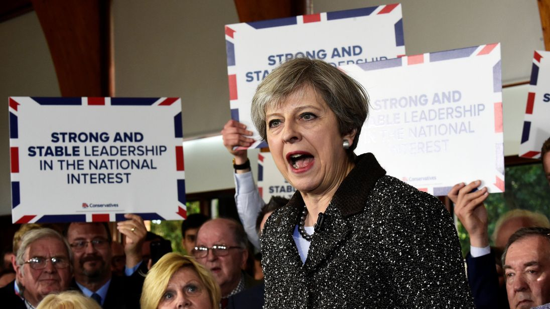 Prime Minister Theresa May speaks at the Brackla community centre in Bridgend, Wales