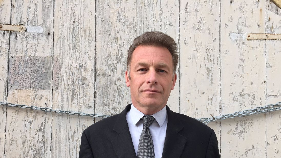 Chris Packham pictured outside court in Malta, wearing a suit borrowed from BirdLife Malta conservationist Nicholas Barbara