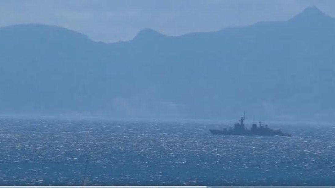 A Spanish gunship in British territorial waters