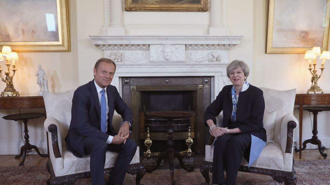 Donald Tusk and Theresa May at Downing Street