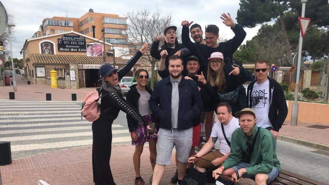 Joe McGrath and his ten new friends in Majorca