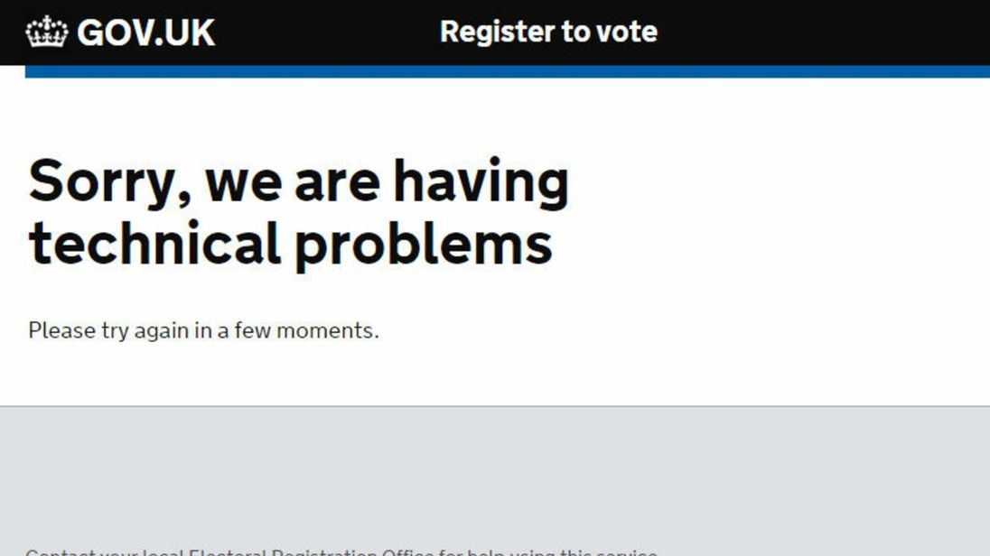 Britons who tried to register to vote on 7 June 2016 were met with this message