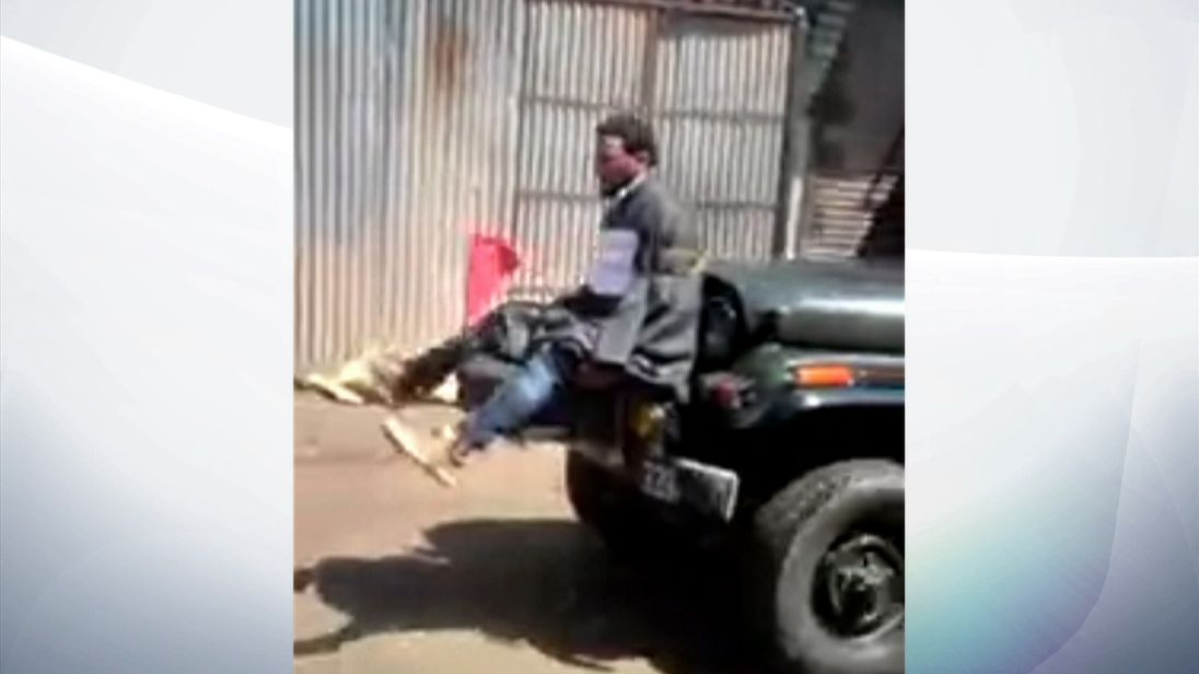 Indian man tied to the front of an army jeep in Kashmir