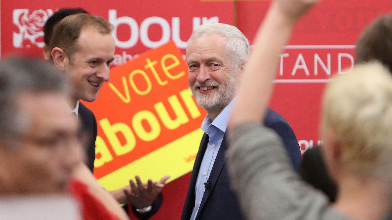 Jeremy Corbyn smiles after delivering a stump speech in Swindon
