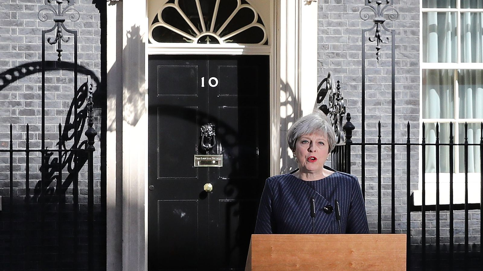 Theresa May makes a statement to the nation in Downing Street