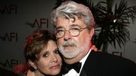 Star Wars' Carrie Fisher and director George Lucas pictured in 2005