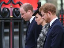 Prince William (left), the Duchess of Cambridge (centre) and Prince Harry (right)