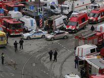 Emergency services attending the scene outside Sennaya Ploshchad metro station