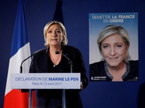 Marine Le Pen speaking after the Champs-Elysee attack