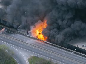A massive fire caused a section of Interstate 85 north of downtown Atlanta to collapse