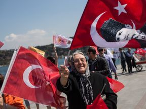 People march along the Bosphorus shoreline in support of the no campaign in Istanbul