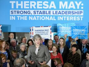 Theresa May on her first campaign stop in Scotland