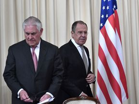 Russian foreign minister Sergei Lavrov (R) and US secretary of state Rex Tillerson arrive at a news conference