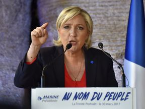 Marine Le Pen said children were taught 'only to see the darkest aspects of our history'
