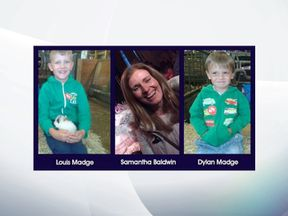 A police-issued photo of Samantha Baldwin and her two sons. Pic: 