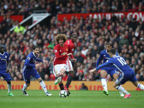 Manchester United's Marouane Fellaini in action during the Premier League match at Old Trafford, Manchester, in April