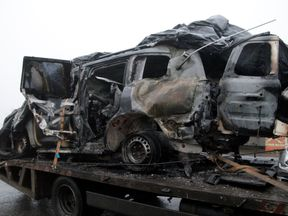 A vehicle involved in a deadly landmine blast in the Luhansk region